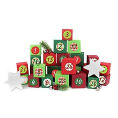 24 Adventskalender Kisten - zum selber befüllen - mit 24 Zahlenaufklebern - mit rot-grünen Kisten verschiedener Größen - von Papierdrachen Advent Calendar, Holiday Decor, Crates, Cardboard Paper, Boxes, Decals, Random Stuff, Lineup