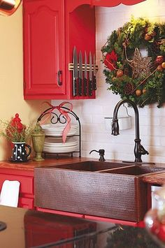 The Everyday Home: Christmas Kitchen, hand-hammered copper farmhouse sink