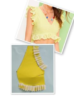 Ropa reciclada Archives - Best Sewing Tips - Her Crochet Crop Top Designs, Blouse Back Neck Designs, Blouse Designs, Dress Sewing Patterns, Clothing Patterns, Myanmar Traditional Dress, Sewing Blouses, Poster S, Fashion Videos