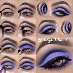 Awesome Purple Makeup by maya mia whose eye makeup tutorials are fabuloussss. Eye Makeup Blue, Purple Eyeshadow Looks, Eyeshadow Makeup, Hair Makeup, Bright Makeup, Makeup Hairstyle, Dramatic Makeup, Dramatic Eyes, Asian Makeup