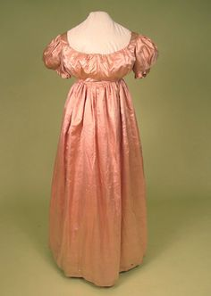 Pink Satin Gown, American, 1790-1810.
