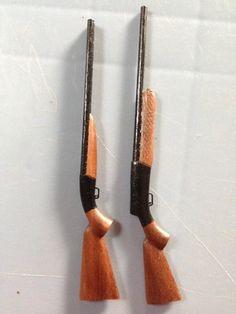 Dollhouse 1:12 Scale Wooden Miniature Black Walnut Browning Beretta Shotguns