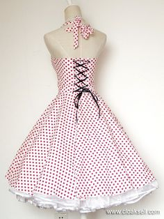 50s 60s Rockabilly Dress Vintage Polka Dots Swing Jive Dress FDW0028W - 50's Rockabilly Dress