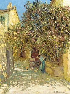 poboh:  A sunlit courtyard, Louis Bonamici. French (1880 - 1966)