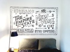 Hand drawn mural for Ace Hotel by Dan Cassaro #DanCassaro #AceHotel #NewYork #youngjerks.com
