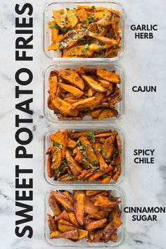 Sweet Potato Meal Prep - Baked Sweet Potato Fries 4 Ways - -You can find baked and more on our website.Sweet Potato Meal Prep - Baked Sweet Potato Fries 4 Ways - - Clean Eating Snacks, Healthy Snacks, Healthy Eating, Easy Healthy Meal Prep, Healthy Sweets, Healthy Cooking, Simple Meal Prep, Healthy Delicious Recipes, Veggie Meal Prep