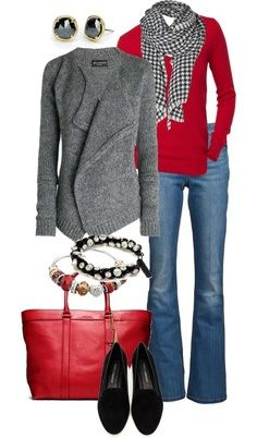 50 Shades of Gray:  red with gray and denim  Click for more ways to wear gray, this season's trendy color.