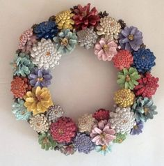 Hand Painted Pine Cone Flower Wreath or Table Centerpiece - pine cone crafts - 10 Hand Painted Pine Cone Flower Wreath or Table Pine Cone Art, Pine Cone Crafts, Pine Cones, Pine Cone Flower Wreath, Floral Wreath, Diy Centerpieces, Christmas Centerpieces, Christmas Decorations, Christmas Wreaths