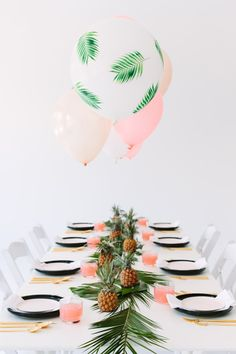 A Palm Fronds + Bon Bons Dinner Party Balloon Tablescape