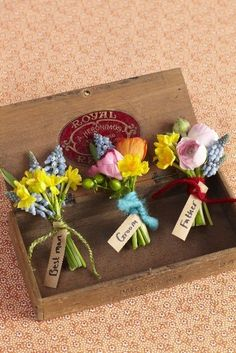 A boutonniere is the finishing touch to the guys' outfits, whether they're wearing tuxes, suits, or dress shirts. Usually the boutonnieres coordinate with the Easter Wedding Ideas, Wedding Themes, Our Wedding, Fall Wedding, Wedding Ceremony, Bright Wedding Flowers, Bridal Flowers, Wedding Colors, Button Holes Wedding