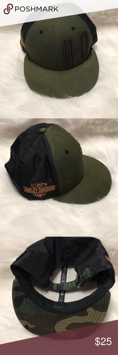 Harley-Davidson Adjustable Hat Hardly worn!! Men's Harley-Davidson Adjustable Hat, army green with camo on the Under side Harley-Davidson Accessories Hats