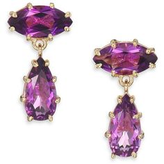 KALAN by Suzanne Kalan Papillon Amethyst & 14K Yellow Gold Drop... ($645) ❤ liked on Polyvore featuring jewelry, earrings, apparel & accessories, 14 karat gold earrings, pear drop earrings, pear earrings, drop earrings and gold jewelry