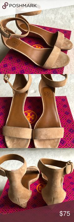 Tory Burch Savannah 45 mm Wedge sandal suede sz 6 I wore these only once, in near perfect condition  No stains, soles in near perfect condition, brass ankle buckle strap detail Tory Burch Shoes Sandals