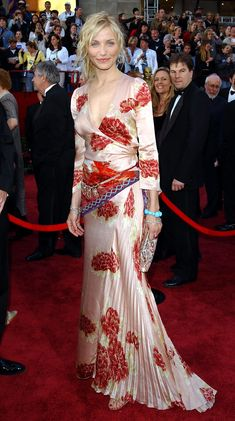 Cameron Diaz in Emanuel Ungaro Couture, 2002I was struggling between Uma Thurman in fresh white Christian Lacroix (2004) and Cameron Diaz in Ungaro Couture (2002), and have decided on the latter, in part because of the Fred Leighton necklace/belt, but mostly because it's refreshing to see glamour with a boho rather than a glitzy edge—not to mention that the easy beauty of this look jives with who I understand the actress to be.—Laird Borrelli-Persson, Vogue.com Archive Editor
