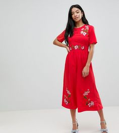 5fef7375760b ASOS PETITE Embroidered Tea Jumpsuit - Red Petite Jumpsuit