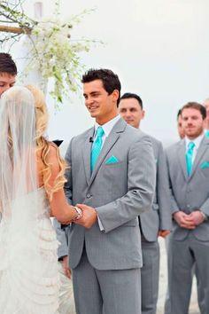 Tiffany Blue Beach Wedding Groom and Groomsmen Attire Wedding Men, Wedding Suits, Wedding Attire, Trendy Wedding, Perfect Wedding, Dream Wedding, Wedding Dresses, Wedding Hair, Bridal Hair