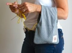 Knitting Project bag, Knitting Wristlet, Small Yarn Pouch from OtterburnPQ on Etsy. Saved to My Gifts. Yarn Projects, Knitting Projects, Crochet Projects, Knitting Patterns, Sewing Projects, Sewing Patterns, Crochet Patterns, Knitting Yarn, Knitting Room