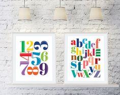Bright Alphabet Printable Art Posters - Kid's Bedroom Room Art - Printable Homeschool, Classroom, Playroom Art - Instant Download