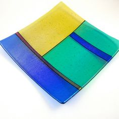 fused glass plate | Fused Glass Plate - Iridized Amber, Green, Blue and Red Glass