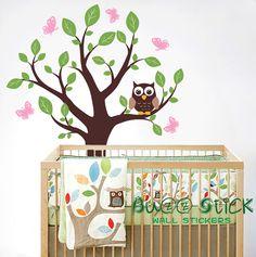 Great Baum mit Schmetterlingen und einem netten Eule f r Ihr Baby Zimmer Baum Aufkleber Gr e