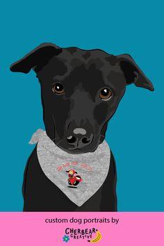 Custom Dog Portraits by Cherbear Creative Studio Custom Dog Portraits, Pet Portraits, Food Dog, Bandana Bow, Etsy Business, Creative Studio, Dog Training, Dog Breeds, Dog Lovers