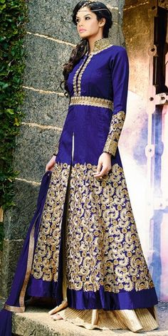 Stunning Blue Georgette Designer Anarkali Suit With Chiffon Dupatta.