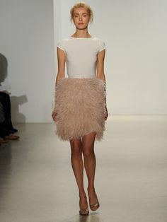 Kelly Faetanini blush feather skirt and modern T-shirt top wedding dress