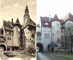 nner yard of the 1904 built Old Town Hall in the 1900s and today. Bielefeld, Germany