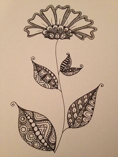 Zentangle doodle flower with leaves