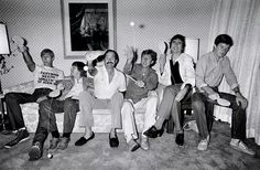 Graham Chapman, Terry Gilliam, John Cleese, Eric Idle, Terry Jones and Michael Palin of Monty Python backstage at the Hollywood Bowl, 1980.