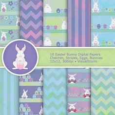 Easter Bunny Digital Paper Pack  Scenic Easter Egg by VizualStorm