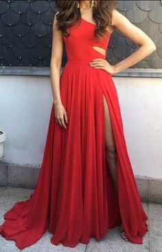 Cute Chiffon Red Long Prom Dress, A-line Unique