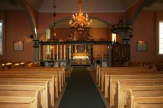 Interior of Hov Kirke(Church)in Sondre Land, Oppland, Norway. Where the 1st six children of my paternal gr-gr-grandfather were baptized and they attend church until immigrating to America in 1865.