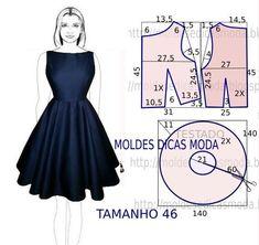 Vestido azul com molde - Moldes Moda por Medida Quem não gosta de ter no guarda-roupa um vestido azul com molde! As medidas correspondem ao tamanho 46 em Portugal. Na tabela de medidas do Brasil e França corresponde ao tamanho 48.