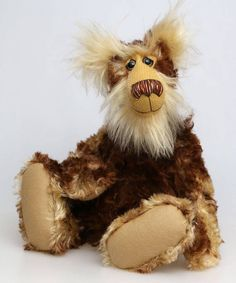 Balthazar is a magnificent and very handsome, one of a kind, artist teddy bear by Barbara-Ann Bears in a gorgeous fluffy and batik mohair