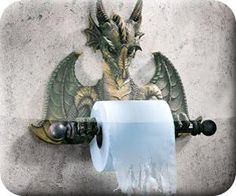 Dragon TP holder. I wonder if also doubles as a fire-breathing Chamber pot [seat] warmer, for those colder mornings in the castle?