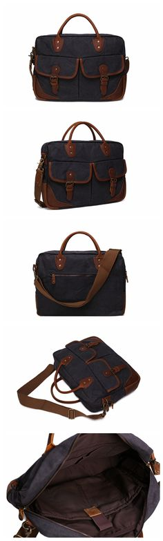Vintage Crazy Horse Leather Canvas Messenger Bag 15-inch Laptop Briefcase Men's Business Bag Crossbody Bag