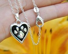 Charm Necklace - .925 Sterling Silver Chain - Paw Print Heart Pendant - Pet Dog Cat Lover Gift