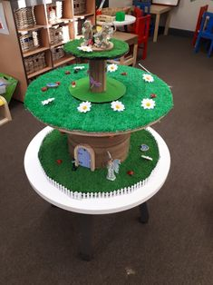My first attempt at a fairy garden, using a cable drum. Cable Reel Ideas Eyfs, Cable Reel Ideas For Kids, Garden Ideas Eyfs, Wooden Cable Reel, Diy For Kids, Crafts For Kids, Spool Tables, Nursery Activities, Kids Outdoor Play