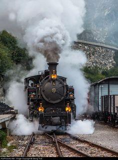 steamlocomotive HG 3/4 # 4 of the former Furka-Oberalp Bahn is ready for duty
