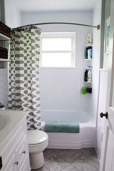 Updating an old bathroom with groutable peel and stick tiles featured on Remodelaholic.com Budget bathroom remodel. Budget bathroom makeover. How to get the look of tile using peel and stick tiles. Corner Bathtub Shower, Mold In Bathroom, Simple Bathroom, Basement Bathroom, Bathroom Ideas, Budget Bathroom, Narrow Bathroom, Bathroom Storage, Bead Board Bathroom