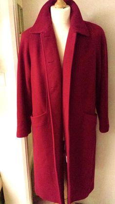 Wool Overcoat Womens Ladies Over-Size 16 Coat Red Boyfriend Eastex