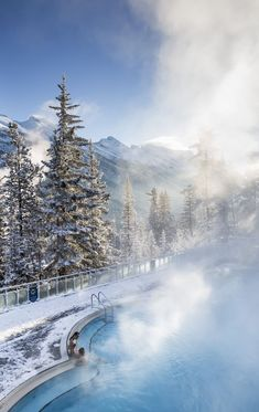 There's so much more to do in Banff National Park in winter than ski. This is Banff Upper Hot Springs - an all natural thermal spring that warms visitors and locals. #Banff #Canada #Banffhotsprings #BanffNationalPark #Alberta #hotsprings #SkiBanff #Winter #WinterBanff #WinterCanada