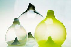 """Water Drop Jug"" Blown Glass Jugs by Esque Studio Glass Jug, Ceramic Tableware, Vintage Pottery, Pottery Teapots, Water Drops, Sustainable Design, Unique Colors, Hand Blown Glass, Colored Glass"