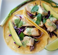 Healthy baked fish tacos with lime cilantro dressing