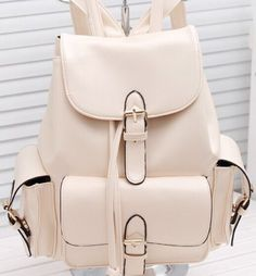 Candy-Colour-Women-Girls-PU-Leather-Backpack-Rucksack-School-travel-Bag-beige
