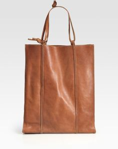 Maison Martin Margiela Brown North South Leather Tote