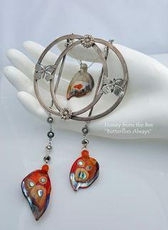 Butterflies Always - vintage buckle, lampwork by Mandrel Beads, sterling silver and Swarovski crystals.
