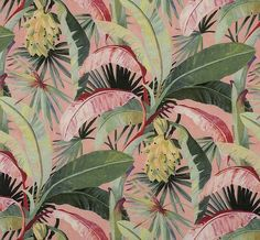 Catherine Martin by Mokum La Palma* Coral Tropical Curtains, Tropical Fabric, Tropical Prints, Tropical Bathroom, Tropical Wallpaper, Dawn And Dusk, Embossed Paper, Before Midnight, Tree Wallpaper