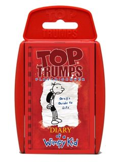 Top Trumps - Diary of a Wimpy Kid These amazing children's books come to life in this Top Trumps pack, as Greg – the Wimpy Kid himself – gives us his advice on important life skills, from fashion sense to talking yourself out of a tight spot. http://shop.winningmoves.co.uk/products/5036905020121-top-trumps-diary-of-a-wimpy-kid.html